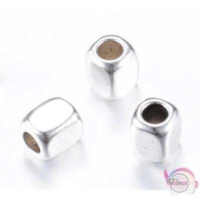 Μεταλλικές χάντρες, κύβος, ασημί,  6.5x5mm, 50τμχ. Χάντρες