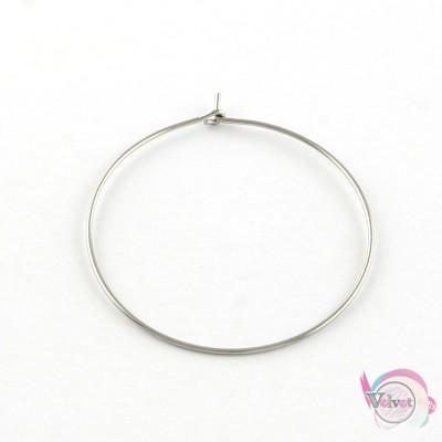 Ατσάλινος κρίκος για σκουλαρίκι, ασημί, 25mm, 20τμχ. Εξαρτήματα