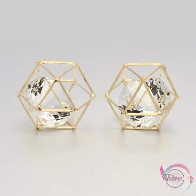 Πολύγωνο κλουβί με κρύσταλλο  20x22mm    1τμχ.