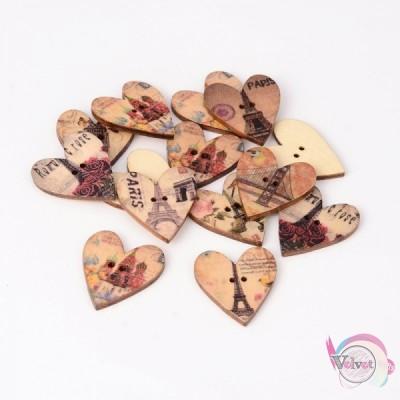 Κουμπιά ξύλινα καρδιές  28mm  30τμχ. Κουμπιά