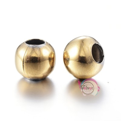 Ατσάλινες χάντρες, χρυσό, 6mm,    20τμχ. Χάντρες