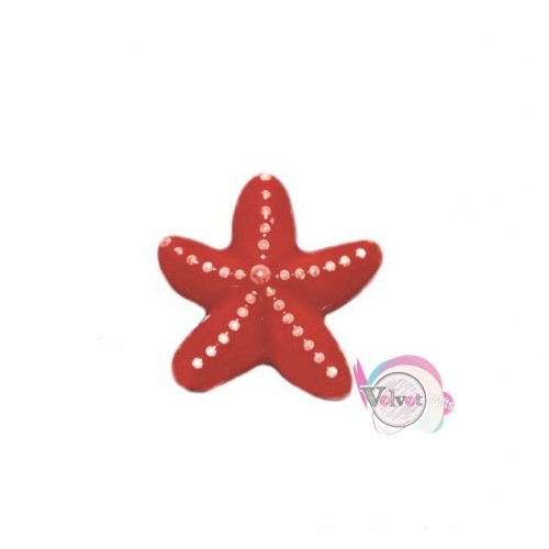 Κεραμικός αστερίας περαστός, κόκκινος, 17.5mm,  1τμχ. Κεραμικές χάντρες