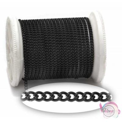 Ατσάλινη αλυσίδα γκουρμέ, μαύρη, 2.8x2.2mm,  1μέτρο Ασημί