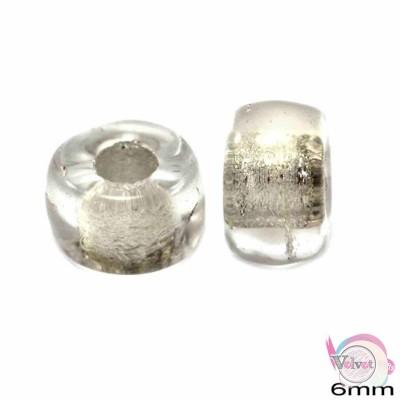 Γυάλινη χάντρα για κομποσκοίνι,  διαφανη ασημίί, 6mm,   50τμχ. Διάφορες