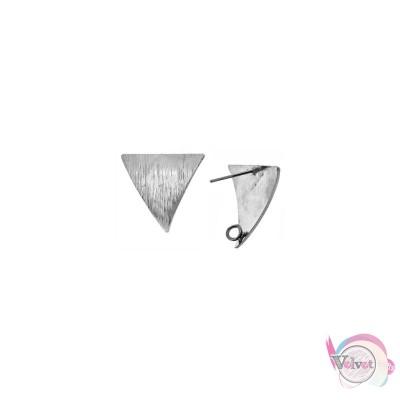 Βάση για σκουλαρίκια, τρίγωνο, με κρικάκι για κρέμασμα, ασημί, 22x19.5mm, 2τμχ. Καρφωτά