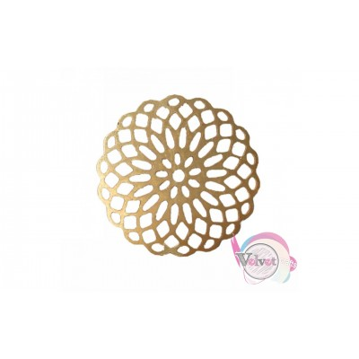 Μεταλλικό στοιχείο λουλούδι, κρεμαστό, χρυσό, 32mm,    5τμχ. Διάφορα