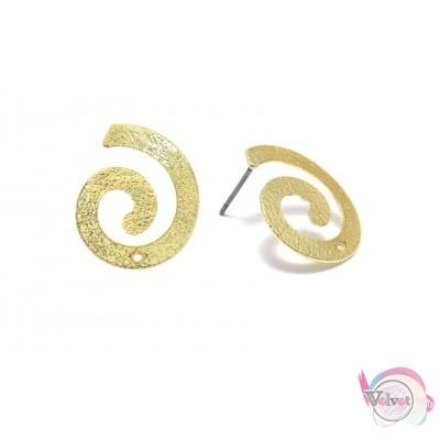Μπρούτζινα σκουλαρίκια, καρφωτά, επίχρυσα, 21mm, 4τμχ. Καρφωτά