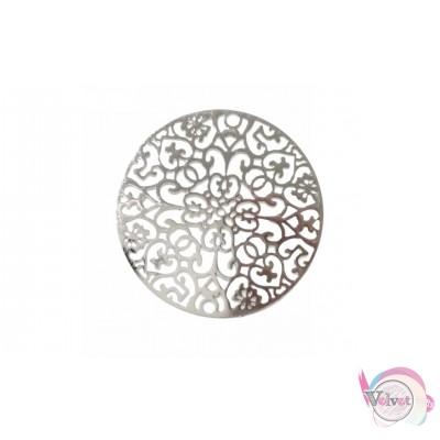 Μεταλλικό στρογγυλό μοτίφ, κρεμαστό, ασημί, 35mm, 5τμχ Διάφορα