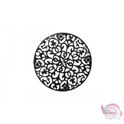 Μεταλλικό στρογγυλό μοτίφ, κρεμαστό, μαύρο, 35mm,    5τμχ. Διάφορα