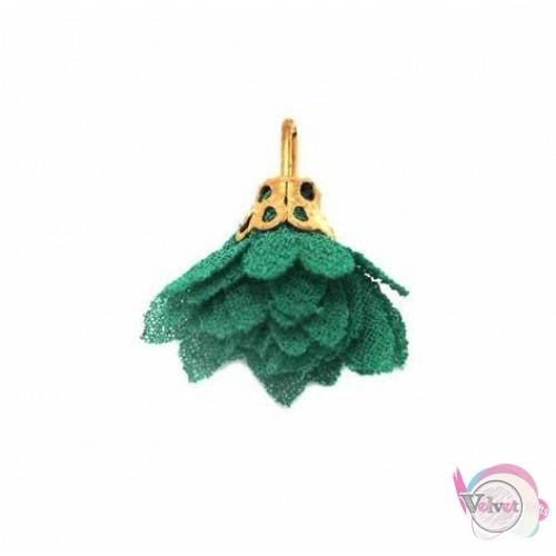 Φουντάκια υφασμάτινα με χρυσό καπελάκι, πράσινα, 15mm, 10τμχ. Φούντες