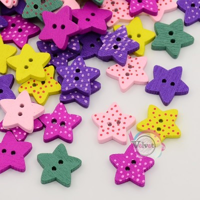 Ξύλινα κουμπιά, αστεράκια πολύχρωμα, με βουλίτσες, 16mm  50τμχ. Κουμπιά