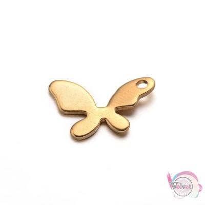 Πεταλούδα, ατσάλινο, χρυσό, κρεμαστό μοτίφ, 9x14mm,     5τμχ. Ατσάλινα κρεμαστά μοτίφ