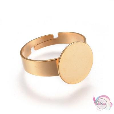 Βάση δαχτυλιδιού, 12mm, επιχρυσωμένο ατσάλι,  3τμχ Εξαρτήματα