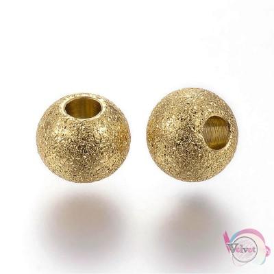Ατσάλινες χάντρες stardust, χρυσό, 6x5mm,    5τμχ. Χάντρες