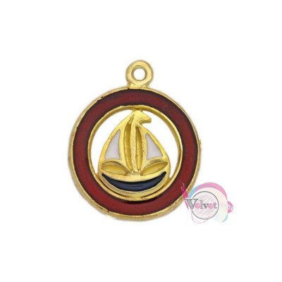 Γούρι καράβι, χρυσό, με κόκκινο σμάλτο, 25mm, 3τμχ. Γούρια με σμάλτο