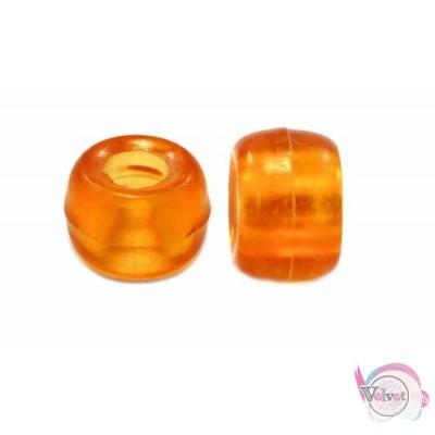 Ακρυλική χάντρα για κομποσκοίνι,  πορτοκαλί διάφανο, 9mm,   100τμχ. Χάντρες