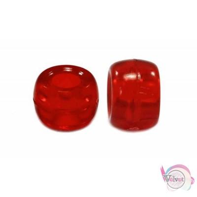 Ακρυλική χάντρα για κομποσκοίνι,  κόκκινο διάφανο, 9mm,   100τμχ. Χάντρες