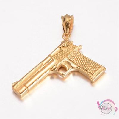 Όπλο ατσάλινο, χρυσό  41.5x59mm     1τμχ. Ατσάλινα μοτίφ-στοιχεία