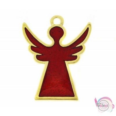 Γούρι άγγελος, χρυσό, με κόκκινο σμάλτο, 49x39mm, 1τμχ. Γούρια με σμάλτο