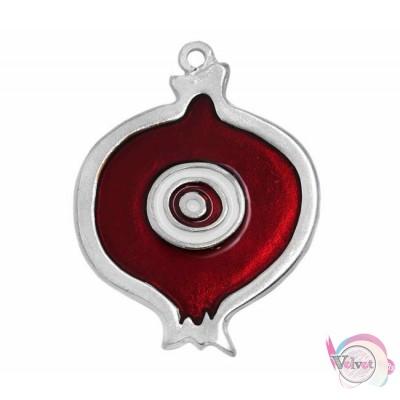 Γούρι, ρόδι με σμάλτο, ασημί-κόκκινο, 65mm, 1τμχ. Γούρια με σμάλτο