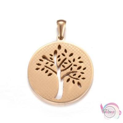 Ατσάλινο, δέντρο της ζωής, κρεμαστό, χρυσό, 27.5mm, 1τμχ. Ατσάλινα μοτίφ-στοιχεία