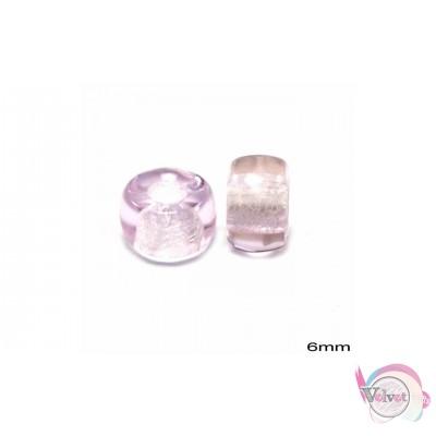 Γυάλινη χάντρα για κομποσκοίνι, ρόζ, 6mm,   50τμχ. Διάφορες