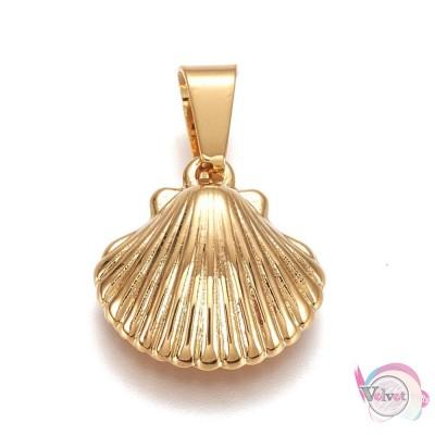 Κοχύλι, ατσάλινο, κρεμαστό , χρυσό, 16x15mm, 2τμχ. Ατσάλινα μοτίφ-στοιχεία