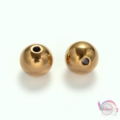 Ατσάλινες χάντρες, χρυσές, 10mm,    5τμχ. Χάντρες