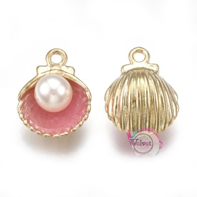 Κοχύλι, κρεμαστό, χρυσό-ροζ με πέρλα, 15x11mm,  5τμχ. Θάλασσα