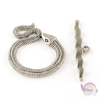 Κούμπωμα διακοσμητικό, φίδι, ασημί,  46x36mm,   1σέτ Κουμπώματα διακοσμητικά
