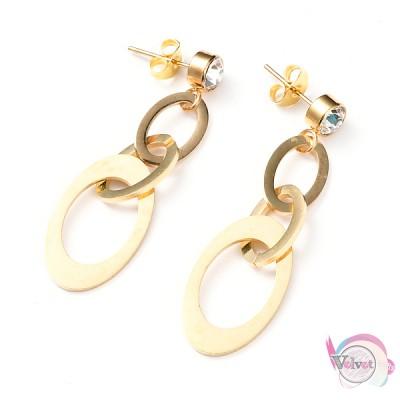 Ατσάλινα σκουλαρίκια , χρυσά,  50mm,1ζεύγος Ατσάλινα σκουλαρίκια