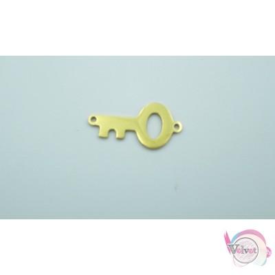 Ατσάλινο, κλειδί, σύνδεσμος, χρυσό, 21mm, 3τμχ. Διάφορα Links