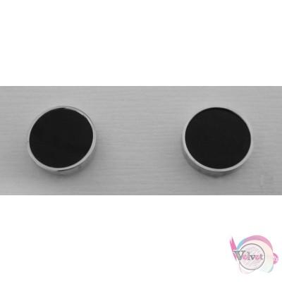 Ατσάλινα σκουλαρίκια, 9mm, ασημί,  1 ζευγάρι Ατσάλινα σκουλαρίκια