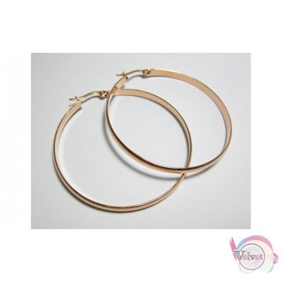 Ατσάλινοι κρίκοι, ροζ χρυσό, 5cm,  1 ζευγάρι Ατσάλινα σκουλαρίκια