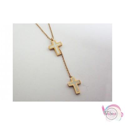 Ατσάλινο κολιέ, ροζ χρυσό, με σταυρούς με λευκό σμάλτο,  1 τμχ Ατσάλινα κολιέ