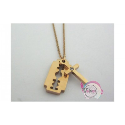 Ατσάλινο κολιέ, ροζ χρυσό, με στοιχείο ξυράφι & σταυρό με στρας,  1 τμχ Ατσάλινα κολιέ