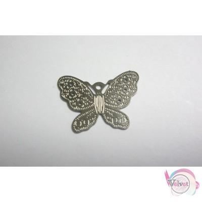 Ατσάλινο στοιχείο πεταλούδα , ασημί, 20mm, 10τμχ. Ατσάλινα μοτίφ-στοιχεία