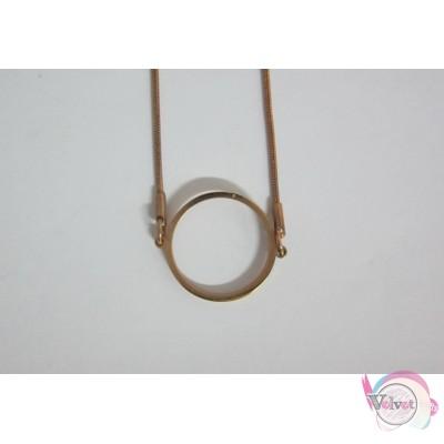 Ατσάλινο κολιέ, ροζ χρυσό, με κύκλο 2cm,  1 τμχ Ατσάλινα κολιέ