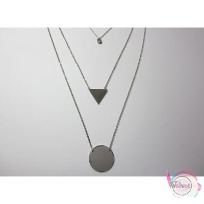 Ατσάλινο κολιέ τριπλό, ασημί, κύκλος- τρίγωνο- στρας,  1τμχ Ατσάλινα κολιέ