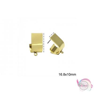 Σκουλαρίκια για κρέμασμα, επιχρυσωμένα, 20mm,  4τμχ. Καρφωτά
