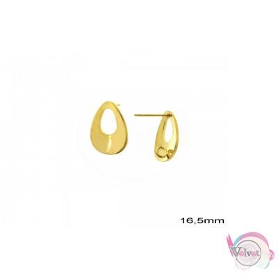 Σκουλαρίκια για κρέμασμα, χρυσά, 16.5mm,  6τμχ. Καρφωτά