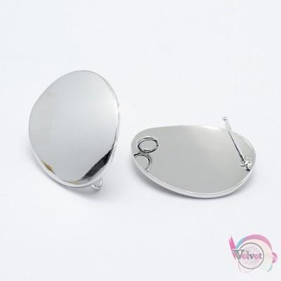 Σκουλαρίκια για κρέμασμα, οβάλ, επιπλατινωμένα, 22x18mm, 2τμχ. Καρφωτά