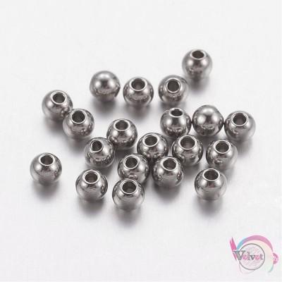 Ατσάλινες χάντρες, ασημί, 3mm,    50τμχ. Χάντρες
