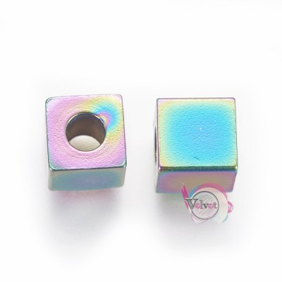 Ατσάλινες χάντρες, κύβος, πολύχρωμες, 6x6x6mm, 10τμχ. Χάντρες