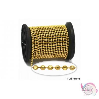 Ατσάλινη αλυσίδα τύπου καζανάκι, διαμαντέ, χρυσό, 1.8mm, 1μέτρο Αλυσίδες μέτρου