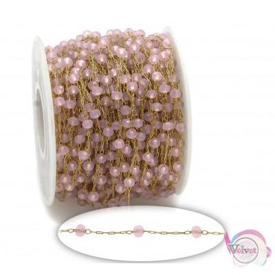 Ατσάλινο ροζάριο, χρυσό με ταγιέ κρύσταλλο, ροζ, 3.3mm, 1μέτρο  Ροζάρια