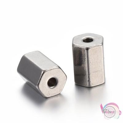 Ατσάλινες, χάντρες, ασημί, 8x5.5mm, 6τμχ. Χάντρες