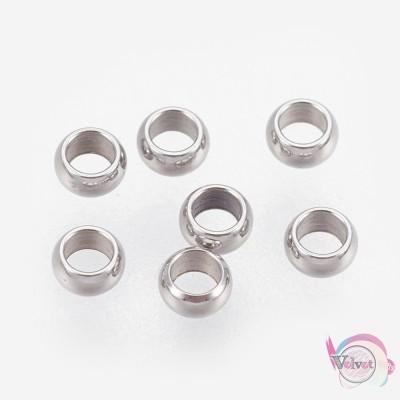 Ατσάλινες χάντρες, ασημί, 2.5mm, 40τμχ. Χάντρες
