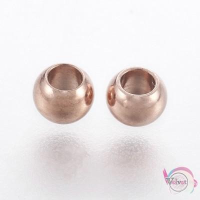 Ατσάλινες χάντρες, ροδέλα, ροζ χρυσό, 2.9x4mm, 10τμχ. Χάντρες