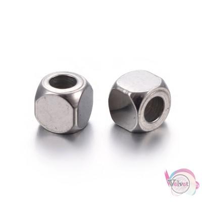 Ατσάλινες χάντρες, κύβος, ασημί, 4mm, 20τμχ. Χάντρες